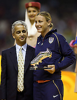 USA forward (20) Abby Wambach poses after being awarded the silver boot after the FIFA Women's World Cup final at Hongkou Stadium in Shanghai, China on September 30, 2007.  Germany defeated Brazil, 2-0.