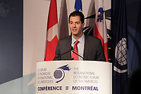 Montreal, CANADA, June, 2015  File Photo<br /> Nicolas Remillard<br /> ,attend the The International Economic Forum of the Americas <br /> <br /> Photo :   Pierre Roussel - AQP
