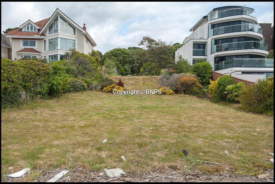 BNPS.co.uk (01202 558833)<br /> Pic: TomWren/BNPS<br /> <br /> This empty plot of land has gone on the market for a staggering £3.5 million because it is situated NEAR the exclusive address of Sandbanks.<br /> <br /> The narrow parcel of land has nothing on it apart from some overgrown grass, the footings of an old house and a shabby-looking driveway.<br /> <br /> But looking at the property from another point of view reveals why it can command such a hefty asking price as it boasts some of the finest seaside views in the country.