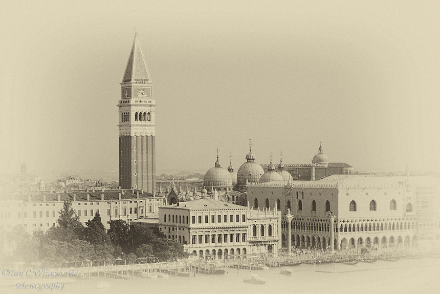 A view of Piazza San Marco in Venice shown in an antique style.