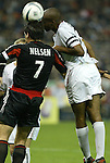 30 October 2004: Ryan Nelsen (7) and Eddie Pope (right) challenge for a header. DC United defeated the MetroStars 2-0 at RFK Stadium in Washington, DC in the second leg of their Major League Soccer Eastern Conference Semifinal playoff series. United eliminated the MetroStars 4-0 on aggregate goals..