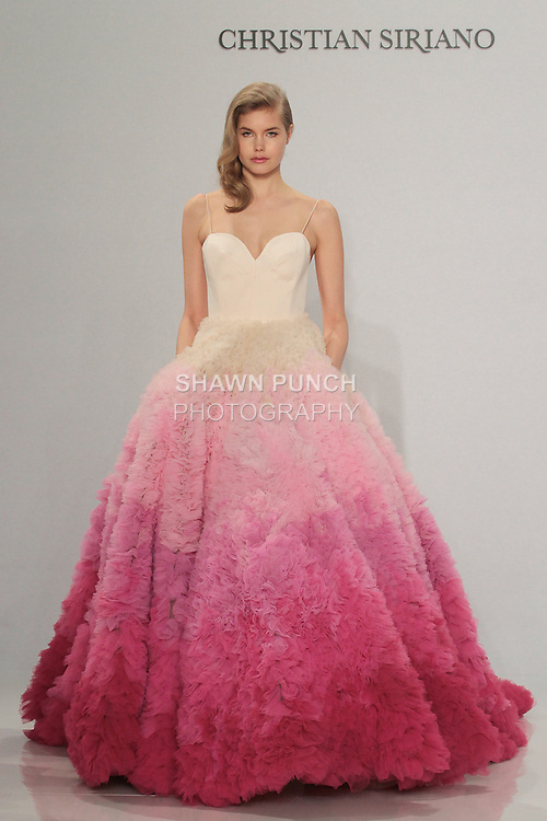Model walks runway in an ombré ball gown, from the Christian Siriano for Kleinfeld bridal collection, at Kleinfeld on April 18, 2016 during New York Bridal Fashion Week Spring Summer 2017.