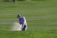Paul Dunne (IRL) chips from a bunker at the 1st green during Thursday's Round 1 of the 2018 AT&amp;T Pebble Beach Pro-Am, held over 3 courses Pebble Beach, Spyglass Hill and Monterey, California, USA. 8th February 2018.<br /> Picture: Eoin Clarke | Golffile<br /> <br /> <br /> All photos usage must carry mandatory copyright credit (&copy; Golffile | Eoin Clarke)