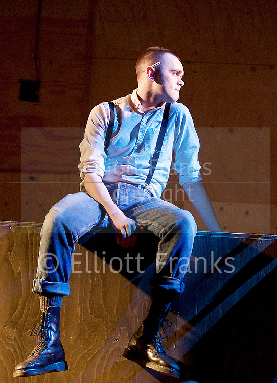 Barbarians <br /> by Barrie Keeffe <br /> directed by Liz Stevenson <br /> at The Young Vic Theatre, London, Great Britain <br /> press photocall <br /> 1st December 2015 <br /> <br /> <br /> <br /> Brian Vernel as Paul <br /> <br /> <br /> Photograph by Elliott Franks <br /> Image licensed to Elliott Franks Photography Services