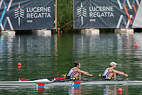 """Lucerne, SWITZERLAND, 15th July 2018, Sunday, Lightweight Women's Double Sculls, """"Semi-Final"""", Repechage 1"""" """" USA LW2X. Bow, Emily SCHMIEG"""" and """"Mary JONES"""", FISA World Cup III Lake Rotsee, © Peter SPURRIER,"""
