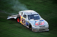 Nov. 1, 2009; Talladega, AL, USA; NASCAR Sprint Cup Series driver Scott Speed after crashing during the Amp Energy 500 at the Talladega Superspeedway. Mandatory Credit: Mark J. Rebilas-