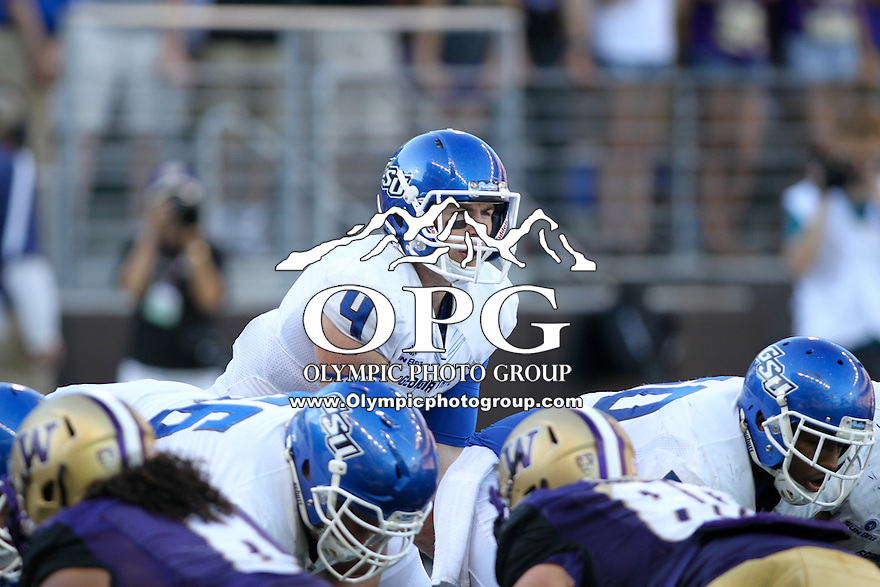 Sept 20, 2014:  Georgia State quarterback Nick Arbuckle calls out the play at the line of scrimmage against Washington.  Washington defeated Georgia State 45-14 at Husky Stadium in Seattle, WA.