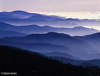Blue haze and Appalachian mountain ridges at sunrise, Great Smoky Mountains National Park, North Carolina.