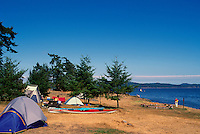 Saltspring Island (Salt Spring Island), Southern Gulf Islands, BC, British Columbia, Canada - Tent Camping at Ruckle Provincial Park, overlooking Swanson Channel