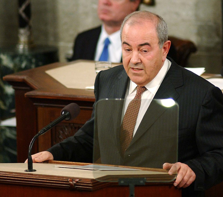 9/23/04.ALLAWI SPEECH--Iraqi Interim Prime Minister Ayad Allawi address the joint meeting of the House and Senate..CONGRESSIONAL QUARTERLY PHOTO BY SCOTT J. FERRELL