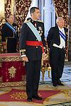 King Felipe VI of Spain receives the credential letters from Mozambique Republic Ambassador Jose Antonio Alberto Matsinha at Palacio Real in Madrid, Spain. July 17, 2013. (ALTERPHOTOS/Victor Blanco)