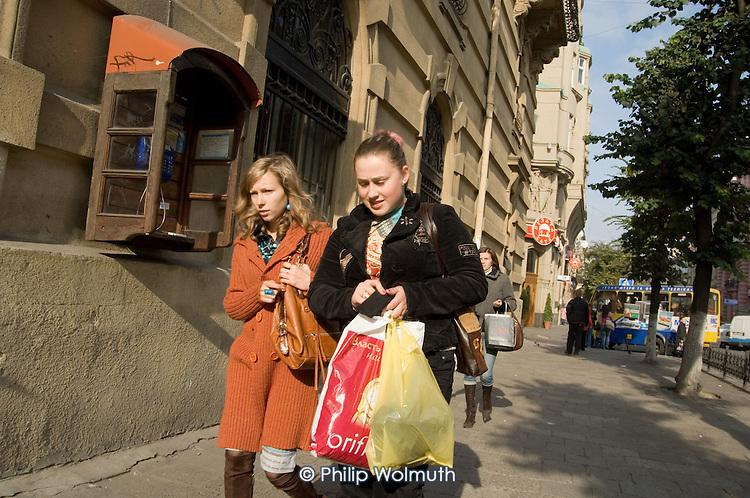 Young women shopping in Lviv.