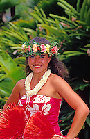 Tahitian dancer with haku lei