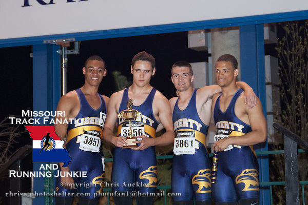 The Liberty North High School boys 4x200 relay squad after their victory in the race at the 2015 Kansas Relays.