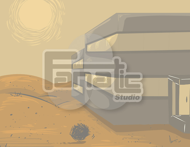 Illustration of office in a deserted area