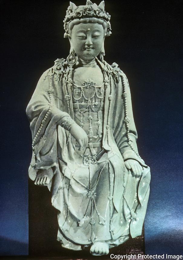 Chinese Buddhist Art:  Kuanyin--porcelain. Yuan Dynasty, 1271-1368 A.D.