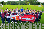 Colouting Competition: Pupils from Scoil Realta na Maidne, Listowel pictured with Kerry player Cillian Young at their school Tuesday morning. The competition sponsored by Garveyswas won by Darren Loughnane and the prize was a training session with Cillian.