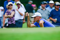 Alex Noren (SWE) lines up his putt on 4 during Friday's round 2 of the PGA Championship at the Quail Hollow Club in Charlotte, North Carolina. 8/11/2017.<br /> Picture: Golffile | Ken Murray<br /> <br /> <br /> All photo usage must carry mandatory copyright credit (&copy; Golffile | Ken Murray)