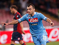 Naples's Goran Pandev celebrates after scoring against Genoa during their Italian Serie A soccer match at the San Paolo  stadium in Naples April 7, 2013