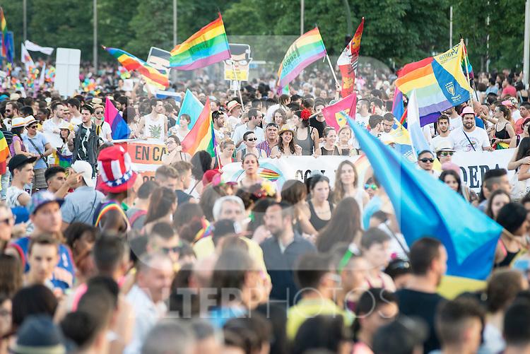 Protest during Gay Pride celebrations in Madrid, Spain. July 04, 2015.<br />  (ALTERPHOTOS/BorjaB.Hojas)
