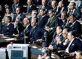 Washington, D.C. - January 14, 1969 -- Republican members of the United States House of Representatives listen as United States President Lyndon B. Johnson delivers his final State of the Union (SOTU) Address to a Joint Session of the United States Congress in Washington, D.C. on January 14, 1969.  The House Minority Leader, United States Representative Gerald R. Ford (Republican of Michigan) looks on from a from his seat at left center and United States Representative George H.W. Bush (Republican of Texas) looks on from center right..Credit: Arnie Sachs - CNP
