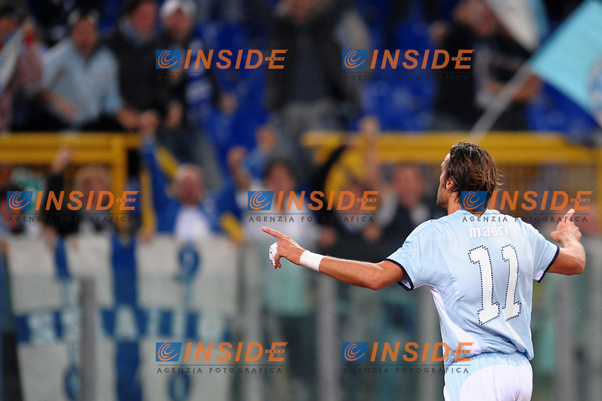 Stefano Mauri (Lazio) celebrates scoring<br /> Esultanza dopo il gol di Stefano Mauri<br /> Roma 24/09/2008 Stadio &quot;Olimpico&quot; <br /> Campionato Italiano Serie A 2008/2009<br /> Lazio Fiorentina (3-0)<br /> Foto Andrea Staccioli Insidefoto