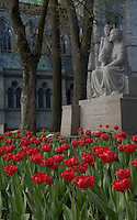 Statue and flowers outside Nidaros Domkirke (Scandinavia's largest medieval building) in Trondheim,  Norway.
