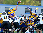 BROOKINGS, SD - SEPTEMBER 20:  Landon Schultz #93 from South Dakota State blocks a field goal attempt of Wisconsin-Oshkosh in the first half of their game Saturday at Coughlin Alumni Stadium in Brookings. (Photo/Dave Eggen/Inertia)