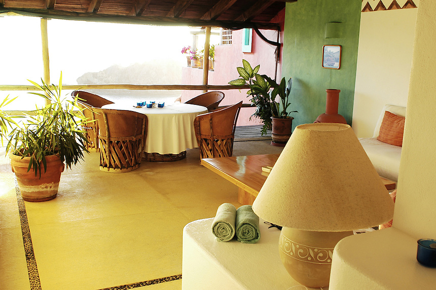 "The terrace of ""Tortuga"" or turtle, one of the  casitas for rent in Careyes"