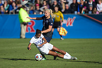 Cary, North Carolina - Sunday December 6, 2015: Imani Dorsey (3) of the Duke Blue Devils is fouled by Brittany Basinger (1) of the Penn State Nittany Lions during second half action at the 2015 NCAA Women's College Cup at WakeMed Soccer Park.  The Nittany Lions defeated the Blue Devils 1-0.