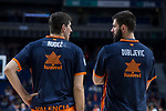 Valencia Basket Damjan Rudez and Bojan Dubljevic during Turkish Airlines Euroleague match between Real Madrid and Valencia Basket at Wizink Center in Madrid, Spain. December 19, 2017. (ALTERPHOTOS/Borja B.Hojas)