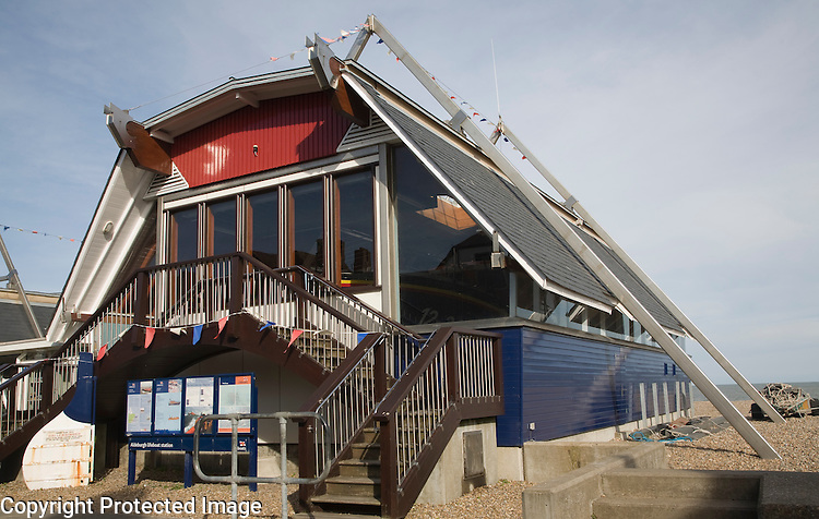 RNLI lifeboat station building on the beach at Aldeburgh, Suffolk, England