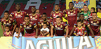 IBAGUÉ -COLOMBIA, 10-07-2015. Jugadores del Deportes Tolima posan para una foto previo al encuentro con Cortulúa por la fecha 12 de la Liga Aguila II 2016 jugado en el estadio Manuel Murillo Toro de la ciudad de Ibagué. / Players of Deportes Tolima pose to a photo prior a match against Cortulua for the date 12 of the Aguila League II 2016 played at Manuel Murillo Toro stadium in Ibague city. Photo: VizzorImage / Juan Carlos Escobar / Str