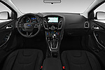 Stock photo of straight dashboard view of 2017 Ford Focus Titanium 4 Door Sedan Dashboard