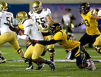 Chris McCain of California sacks UCLA quarterback Brett Hundley during the game at Memorial Stadium in Berkeley, California on October 6th, 2012.  California defeated UCLA, 43-17.