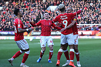 Lyle Taylor celebrates scoring Charlton's opening goal during Charlton Athletic vs Barnsley, Sky Bet EFL Championship Football at The Valley on 1st February 2020