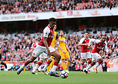 1st October 2017, Emirates Stadium, London, England; EPL Premier League Football, Arsenal versus Brighton; Alex Iwobi of Arsenal scores his sides second, 2-0 Arsenal