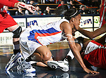 Texas - Arlington Mavericks forward Briana Walker (21) fights for the ball on the floor in the game between the UTA Mavericks and the  Nicholls State University Colonels  held at the University of Texas in Arlington's Texas Hall in Arlington, Texas. UTA defeats Nicholls 69 to 62