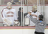 Thatcher Demko (BC - 30), Matt Malloy (BC - Student Manager), Brad Barone (BC - 29) - The Boston College Eagles defeated the visiting St. Francis Xavier University X-Men 8-2 in an exhibition game on Sunday, October 6, 2013, at Kelley Rink in Conte Forum in Chestnut Hill, Massachusetts.