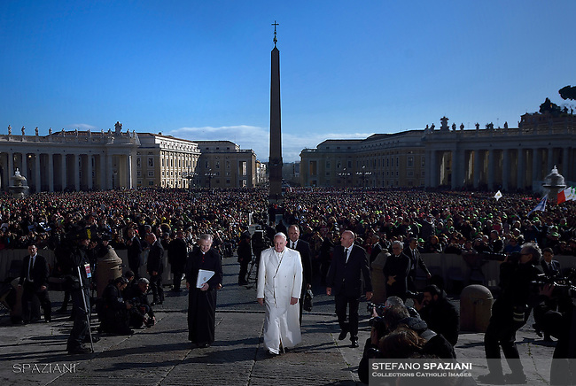 Pope Francis special Jubilee Audience at Saint Peter's Square at the Vatican on February. 20, 2016.