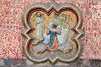 Zechariah's vision, an angel appears in the temple to tell him about St John, from the series of the life of St John the Baptist, low relief plaque in the second intercolumniation of the choir screen in the North ambulatory, 1490-1530, commissioned by canon Adrien de Henencourt and made by the sculptor Antoine Ancquier, in the Basilique Cathedrale Notre-Dame d'Amiens or Cathedral Basilica of Our Lady of Amiens, built 1220-70 in Gothic style, Amiens, Picardy, France. Amiens Cathedral was listed as a UNESCO World Heritage Site in 1981. Picture by Manuel Cohen