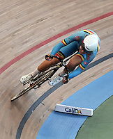 CALI – COLOMBIA – 01-03-2014: Jolien D´Hoore de Belgica durante la prueba de Vuelta Lanzada del Omnium Damas en el Velodromo Alcides Nieto Patiño, sede del Campeonato Mundial UCI de Ciclismo Pista 2014. / Jolien D´Hoore of Belgium during the test of the Women´s Omnium Flying Lap at the Alcides Nieto Patiño Velodrome, home of the 2014 UCI Track Cycling World Championships. Photos: VizzorImage / Luis Ramirez / Staff.