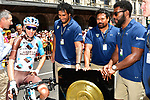 Romain Bardet (FRA) AG2R La Mondiale with l'ASM Rugby team members before Stage 16 of the 104th edition of the Tour de France 2017, running 165km from Le Puy-en-Velay to Romans-sur-Isere, France. 18th July 2017.<br /> Picture: ASO/Alex Broadway | Cyclefile<br /> <br /> <br /> All photos usage must carry mandatory copyright credit (&copy; Cyclefile | ASO/Alex Broadway)