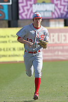Ryan Mathews of the North Carolina State Wolfpack running in from the outfield during  a game against  the Coastal Carolina University Chanticleers at the Baseball at the Beach Tournament held at BB&T Coastal Field in Myrtle Beach, SC on February 28, 2010.