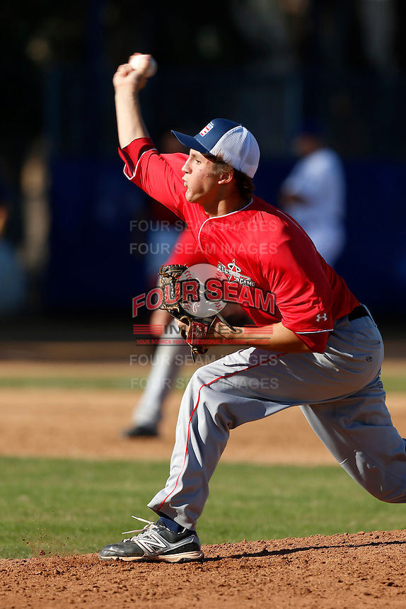 Tyler Mahle participates in the Jesse Flores All Star Game at the Urban Youth Academy on November 4, 2012 in Compton, California. (Larry Goren/Four Seam Images)