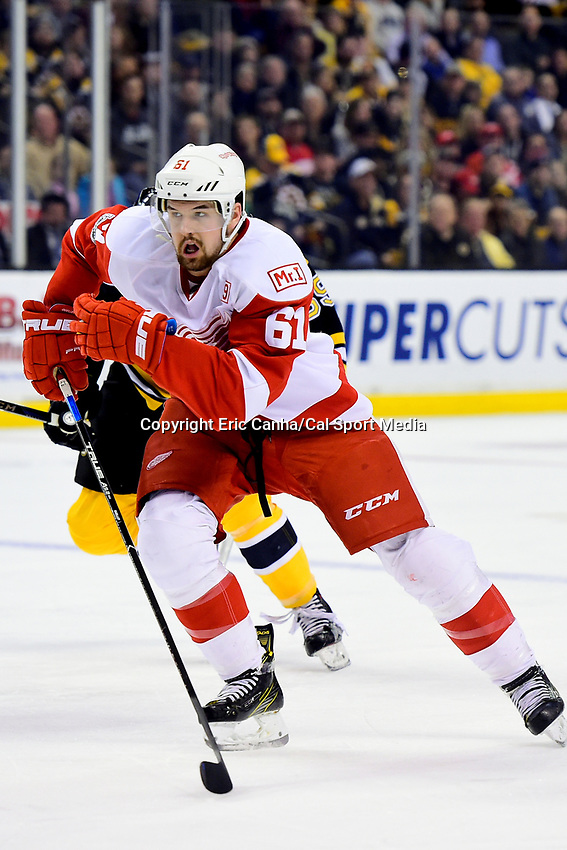 Wednesday, March 8, 2017: Detroit Red Wings defenseman Xavier Ouellet (61) in action during the National Hockey League game between the Detroit Red Wings and the Boston Bruins held at TD Garden, in Boston, Mass.  Boston defeats Detroit 6-1 in regulation time. Eric Canha/CSM