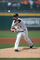 Charlotte Knights starting pitcher Hector Santiago (24) delivers a pitch to the plate against the Gwinnett Braves at BB&T BallPark on July 14, 2019 in Charlotte, North Carolina.  The Stripers defeated the Knights 5-4. (Brian Westerholt/Four Seam Images)