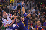 VELUX EHF 2017/18 EHF Men's Champions League Group Phase - Round 11.<br /> FC Barcelona Lassa vs HC Vardar: 29-28.<br /> Dainis Kristopans, Kamil Syprzak &amp; Timothey N'Guessan.