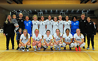 The Futsal Ferns pose for a team photo after international women's futsal match between the NZ Futsal Ferns and New Caledonia at Baypark Arena in Mount Maunganui, New Zealand on Thursday, 14 September 2017. Photo: Dave Lintott / lintottphoto.co.nz