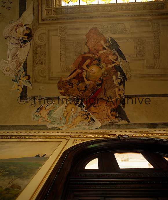 A fresco on the ceiling of the bar depicts cherubs and angels in colourful robes carrying vessels filled with water from the spa